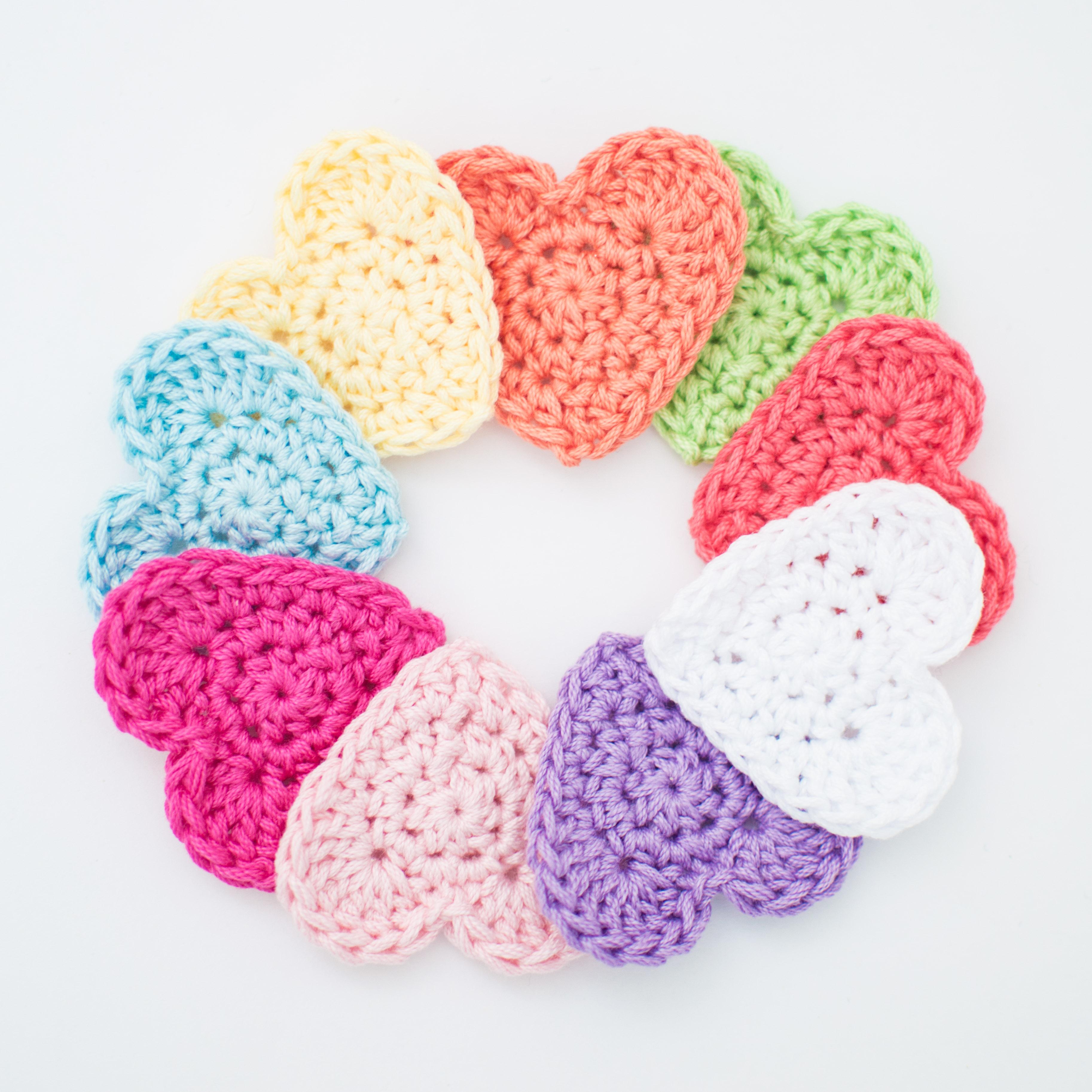 Heart Applique Free Crochet Pattern English Spanish